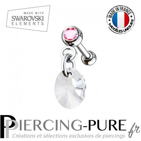 Piercing Oreille Tragus Cristal rose et Swarovski Elements ovale cristal XILION