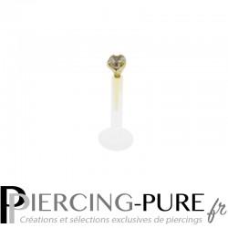 Piercing Labret Bioflex Cristal discret et Or 14K