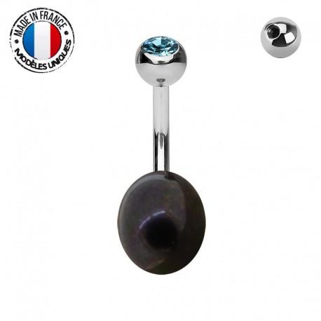 Piercing Nombril Perle de culture noire et titane - modèle 01