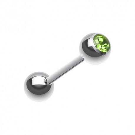 Piercing Langue Acier Cristal vert