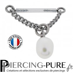 Piercing Téton Bioflex chainette et Perle de culture