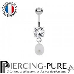 Piercing Nombril Acier Pierres et petite Perle d'eau douce