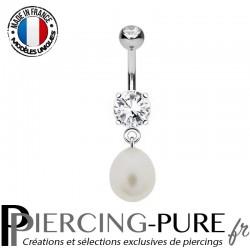 Piercing Nombril Acier Pierres et Perle d'eau douce