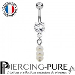 Piercing Nombril Pendentif triple Perle d'eau douce
