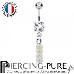 Piercing Nombril Pendentif multi Perles d'eau douce