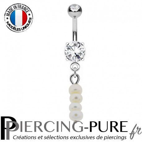 Piercing Nombril Pendentif multi Perle d'eau douce