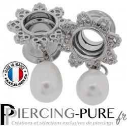 Paire Tunnel Oreille Acier couronne coeur pendentif perle de culture 10mm