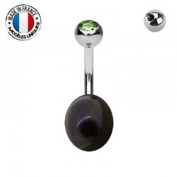 Piercing Nombril Perle de culture noire et Titane - modèle 02