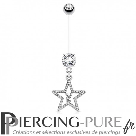 Piercing Nombril Grossesse Flexible Playboy® étoile pavée de cristaux