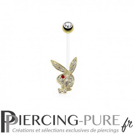 Piercing Nombril Grossesse Flexible Playboy® plaqué or lapin oeil rouge