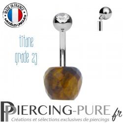Piercing Titane pomme Oeil de tigre et Pierre blanche