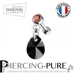 Piercing Oreille Tragus Cristal rouge et Swarovski Elements poire cristal XILION noir