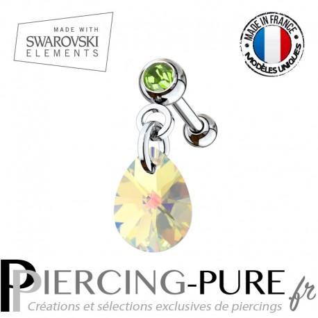 Piercing Oreille Tragus Cristal vert et Swarovski Elements poire XILION Crystal AB