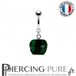 Piercing Acier pendentif pomme émeraude facettée