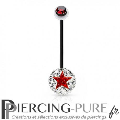 Piercing Nombril Grossesse Bioflex noir boule de Cristaux blancs et étoile rouge