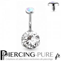Piercing Nombril Opale blanche et Cristal blanc griffé
