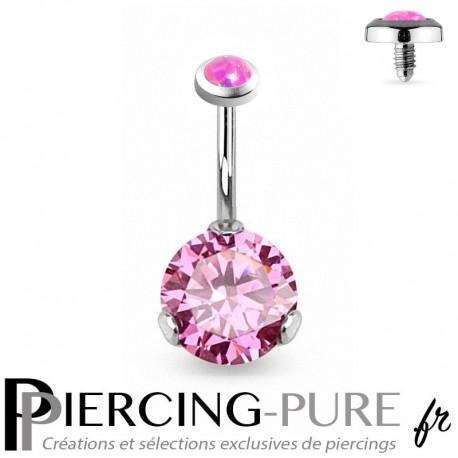 Piercing Nombril Opale rose et Cristal rose griffé