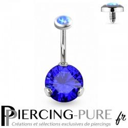 Piercing Nombril Opale bleue et Cristal bleu griffé