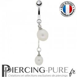 Piercing Nombril cerises Perles de culture blanche