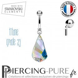 Piercing Nombril Titane Swarovski Elements Helix pendant Crystal irisé
