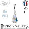 Piercing Nombril Titane Swarovski Elements Helix pendant Crystal irisé