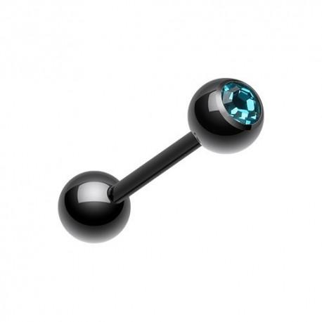 Piercing Langue Blackline Cristal turquoise