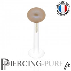 Piercing labret Or et Perle de culture rose