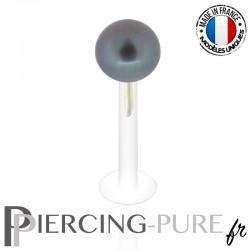 Piercing labret Or et Perle de culture gris claire