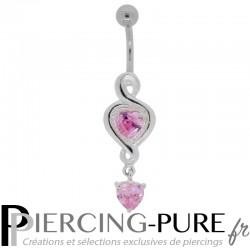 Piercing Nombril Argent Pendentif Coeurs Roses