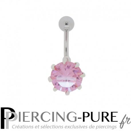 Piercing Nombril Argent Cristal Rose