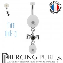 Piercing Nombril Titane pendentif perles et noeud