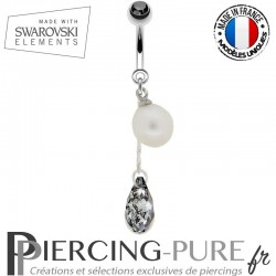 Piercing Nombril Swarovski Briolette Pendant Crystal Rose Patina