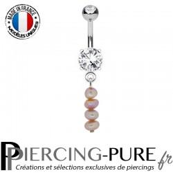 Piercing Nombril Pendentif Perles d'eau douce roses