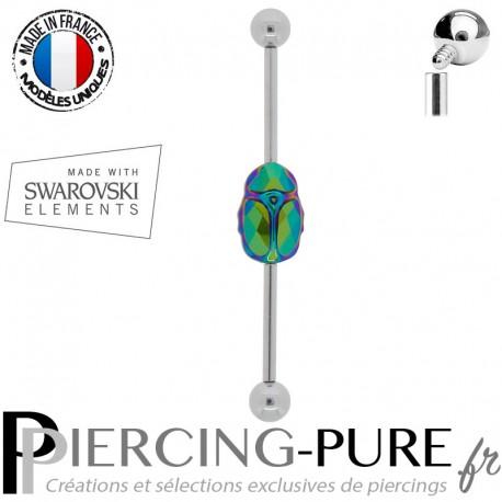 Piercing Industriel Swarovski Element scarabée vert