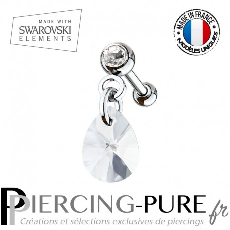 Piercing Oreille Tragus Cristal blanc et Swarovski Elements XILION mini pear Crystal