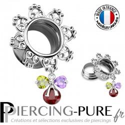 Tunnel Oreille Acier couronne coeur pendentif noeud de cristaux 12mm