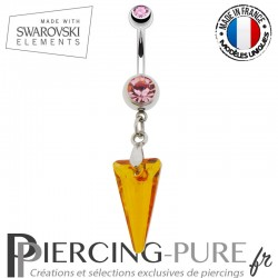 Piercing Nombril spike Swarovski Elements Crystal Astral Pink