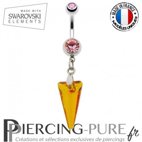 Piercing Nombril spike Swarovski Elements Crystal Astral Pink