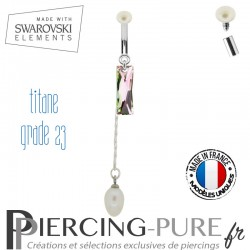Piercing Nombril Titane Queen Baguette Swarovski Elements Crystal Vitrail Light et perles naturelles