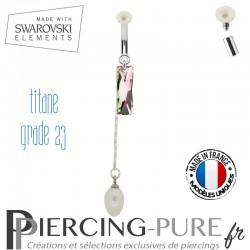Piercing Nombril Titane Queen Baguette Swarovski Elements Crystal Vitrail Light et perles naturelles