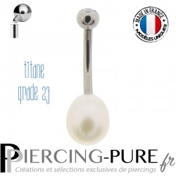 Piercing Nombril Titane et Perle de culture blanche