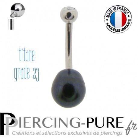 Piercing Nombril Perle de culture noire et Titane pas de vis interne