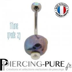 Piercing Nombril Titane Perles de culture Prussian blue et blanche