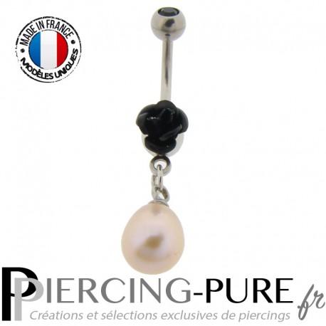 Piercing Nombril Acier Rose noire et Perle d'eau douce rose