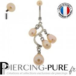 Piercing Nombril Cascade de perles naturelles roses