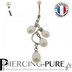 Piercing Nombril Cascade de perles naturelles blanches