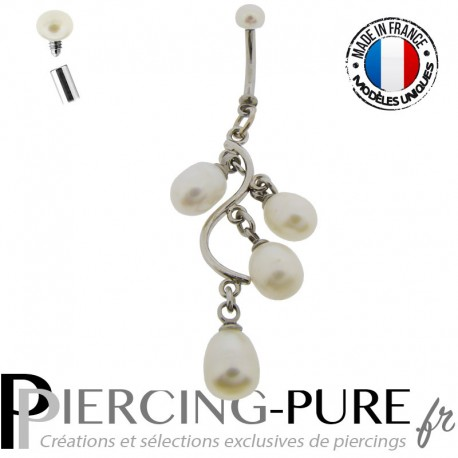 Piercing Nombril Cascade de perles naturelles blanches