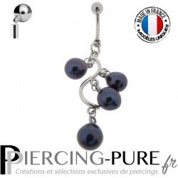 Piercing Nombril Cascade de perles naturelles noires