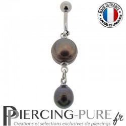 Piercing Nombril Perles de culture Prussian blue - 01