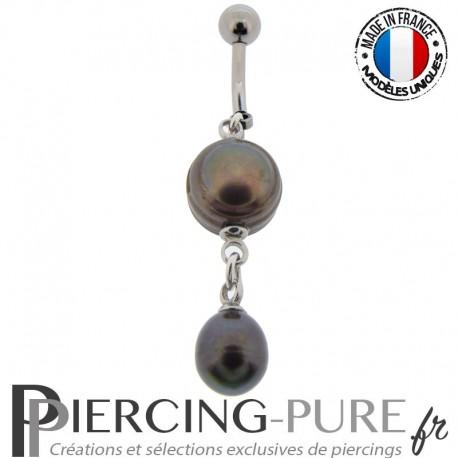 Piercing Nombril Perles de culture Prussian blue